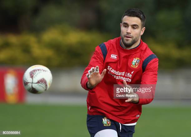 Conor Murray catches the ball during the British Irish Lions captain's run at Porirua Park on June 30 2017 in Wellington New Zealand