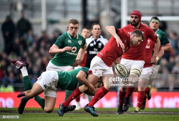 Conor Murray of Ireland and Dan Biggar of Wales during the Six Nations Championship rugby match between Ireland and Wales at Aviva Stadium on...