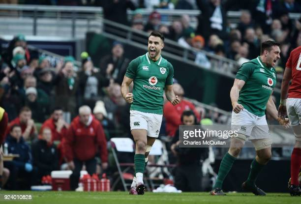 Conor Murray of Ireland celebrates after the Six Nations Championship rugby match between Ireland and Wales at Aviva Stadium on February 24 2018 in...