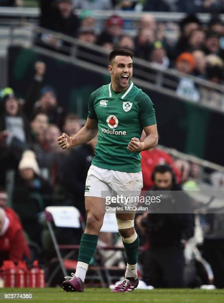 Conor Murray of Ireland celebrates during the Six Nations Championship rugby match between Ireland and Wales at Aviva Stadium on February 24 2018 in...