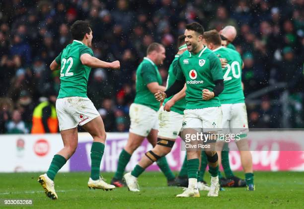 Conor Murray of Ireland celebrates victory with Joey Carbery after The NatWest Six Nations trophy after the NatWest Six Nations match between England...