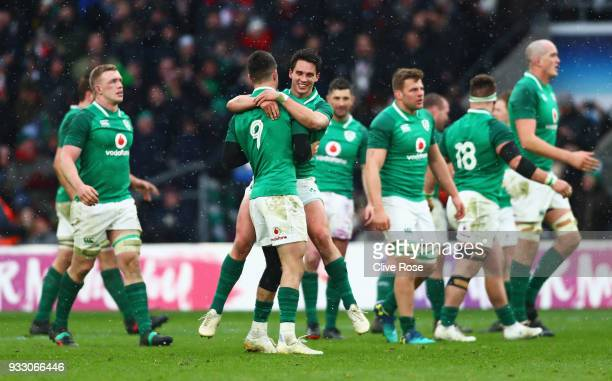 Conor Murray of Ireland celebrates victory with Joey Carbery of Ireland after the NatWest Six Nations match between England and Ireland at Twickenham...