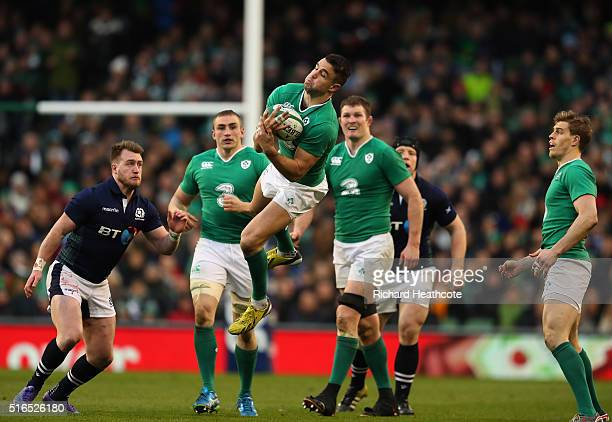 Conor Murray of Ireland claims a high ball during the RBS Six Nations match between Ireland and Scotland at the Aviva Stadium on March 19 2016 in...