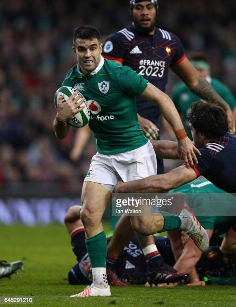 Conor Murray of Ireland is tackled by Kevin Gourdon of France during the RBS Six Nations match between Ireland and France at the Aviva Stadium on...