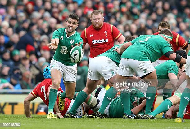 Conor Murray of Ireland passes the ball during the RBS Six Nations match between Ireland and Wales at the Aviva Stadium on February 7 2016 in Dublin...