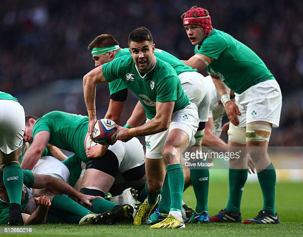 Conor Murray of Ireland passes the ball during the RBS Six Nations match between England and Ireland at Twickenham Stadium on February 27 2016 in...