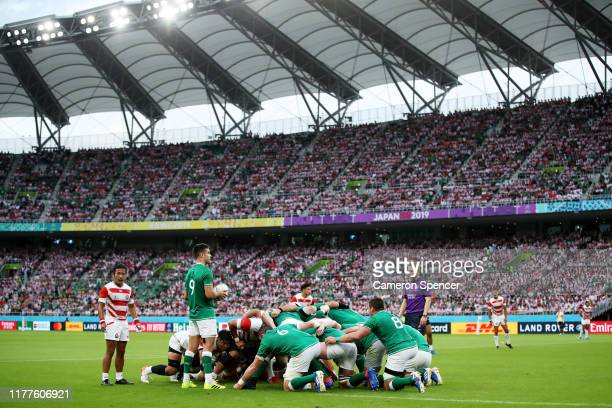 Conor Murray of Ireland prepares for a scrum during the Rugby World Cup 2019 Group A game between Japan and Ireland at Shizuoka Stadium Ecopa on...