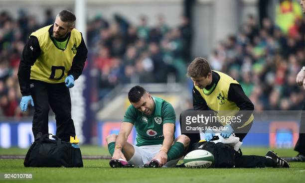 Conor Murray of Ireland receives treatment during the Six Nations Championship rugby match between Ireland and Wales at Aviva Stadium on February 24...
