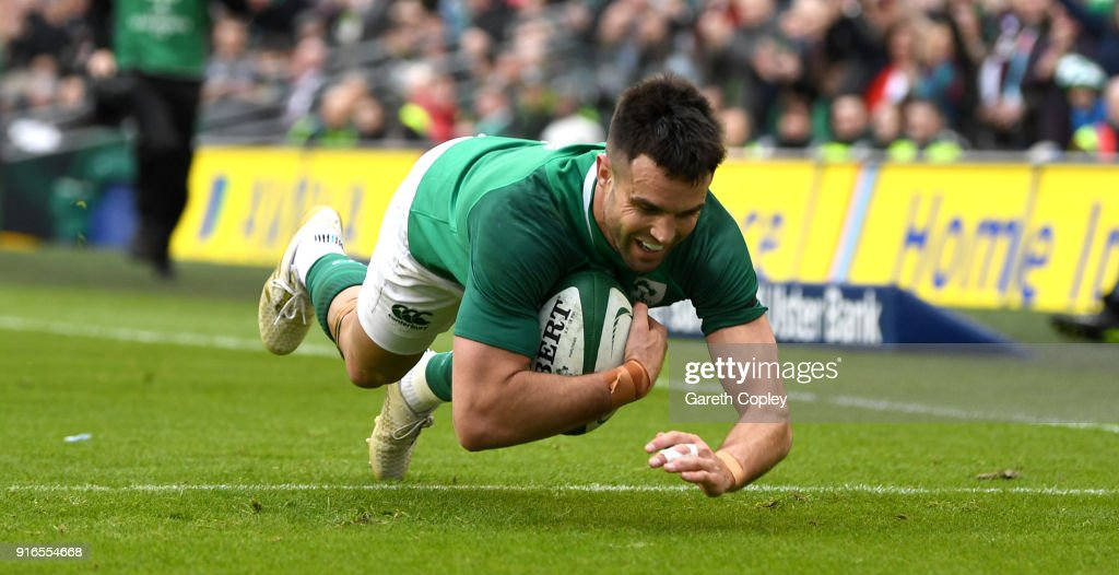 Conor Murray of Ireland scores a first half try during the NatWest Six Nations match between Ireland and Italy at Aviva Stadium on February 10, 2018 in Dublin, Ireland.