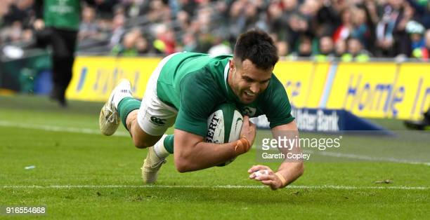 Conor Murray of Ireland scores a first half try during the NatWest Six Nations match between Ireland and Italy at Aviva Stadium on February 10 2018...