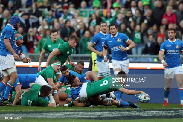Conor Murray of Ireland scores a try during the Guinness Six Nations match between Italy and Ireland at Stadio Olimpico on February 24 2019 in Rome...