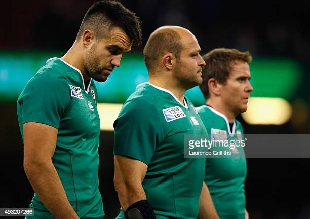 Conor Murray of Ireland shows his dejection next to his teammates after defeat in their 2015 Rugby World Cup Quarter Final match between Ireland and...