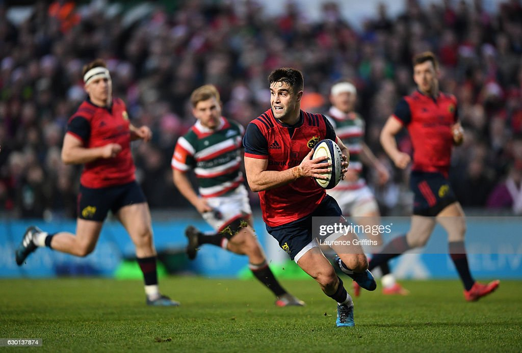 Conor Murray of Munster in action during the European Rugby Champions Cup match between Leicester Tigers and Munster Rugby on December 17, 2016 in Leicester, United Kingdom.