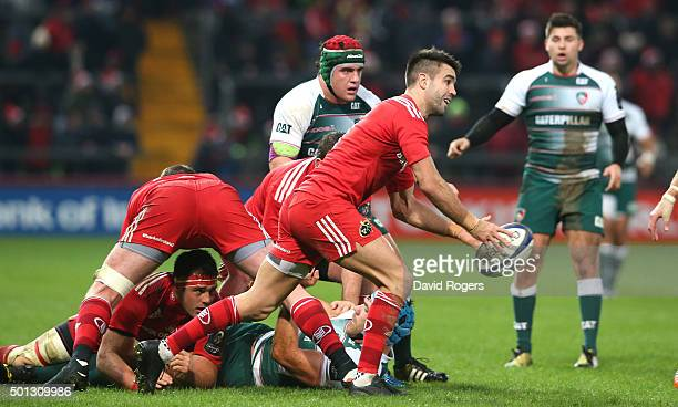 Conor Murray of Munster runs with the ball during the European Rugby Champions Cup match between Munster and Leicester Tigers at Thomond Park on...
