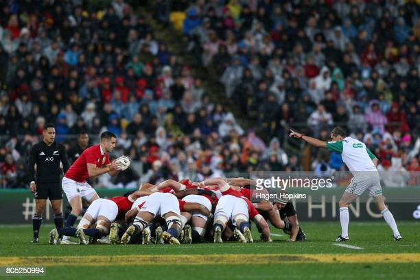 Conor Murray of the Lions feeds a scrum during the International Test match between the New Zealand All Blacks and the British Irish Lions at Westpac...
