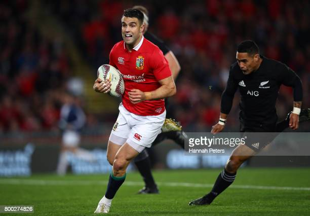 Conor Murray of the Lions makes a break during the first test match between the New Zealand All Blacks and the British Irish Lions at Eden Park on...
