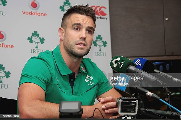 Conor Murray speaks during the Irish national rugby team press conference at Westerford High School fields on June 07 2016 in Cape Town South Africa