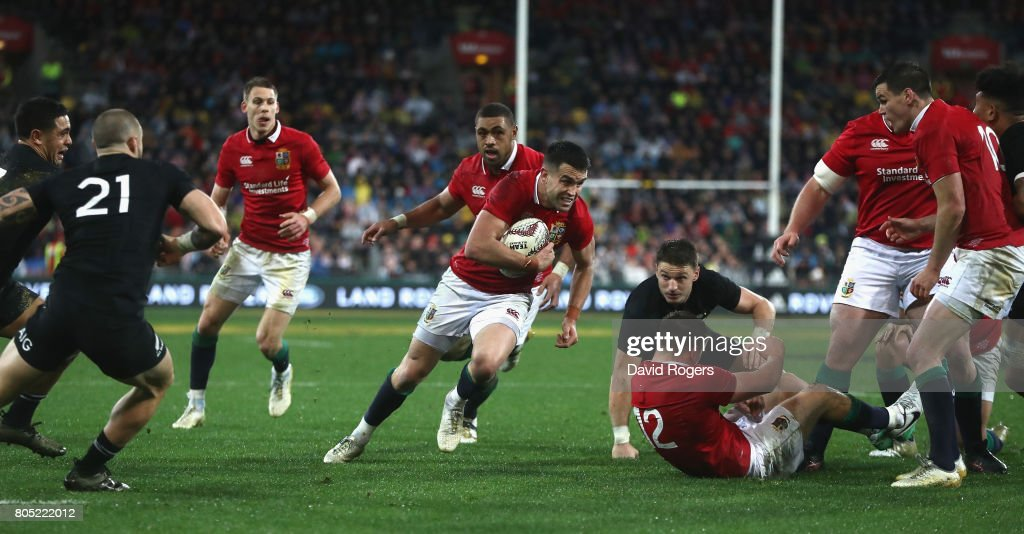 Conor Murray, the Lions scrumhalf, breaks clear to score their second try during the match between the New Zealand All Blacks and the British & Irish Lions at Westpac Stadium on July 1, 2017 in Wellington, New Zealand.