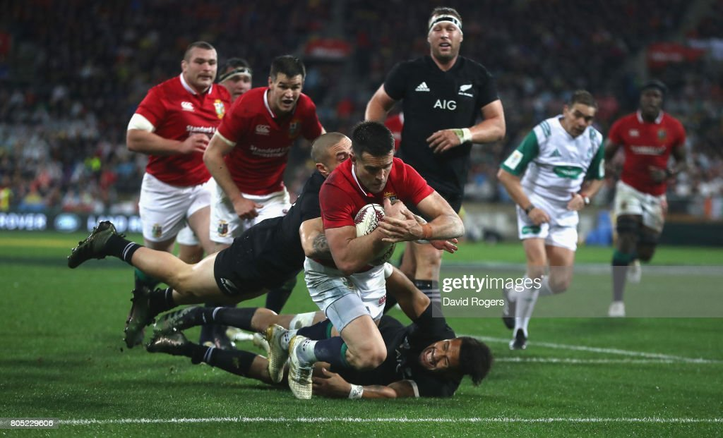 Conor Murray, the Lions scrumhalf, dives over for their second try during the match between the New Zealand All Blacks and the British & Irish Lions at Westpac Stadium on July 1, 2017 in Wellington, New Zealand.