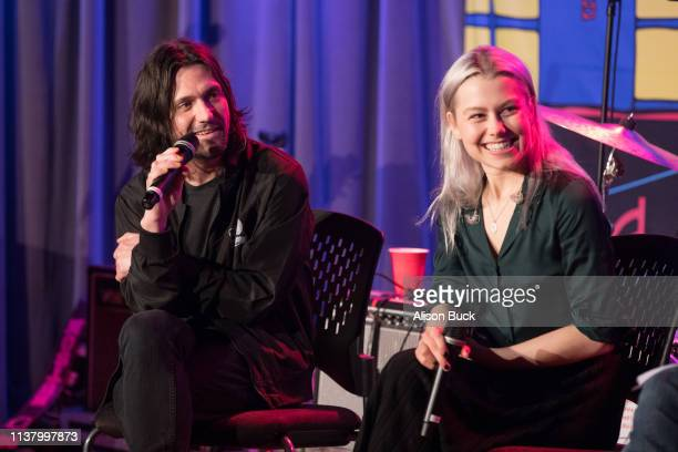 Conor Oberst and Phoebe Bridgers speak onstage during The Drop Better Oblivion Community Center on April 18 2019 in Los Angeles California