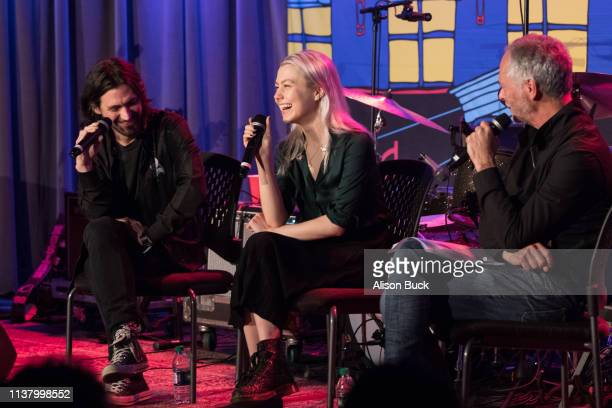 Conor Oberst and Phoebe Bridgers speak onstage during The Drop Better Oblivion Community Center April 18 2019 in Los Angeles California