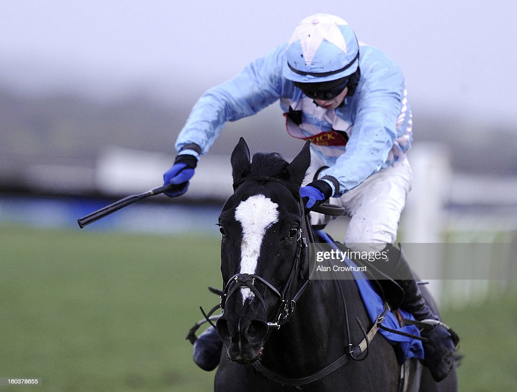 Conor O'Farrell riding Centasia win The Wedding Receptions At Ludlow Standard Open National Hunt Falt Race from at Ludlow racecourse on January 30, 2013 in Ludlow, England.