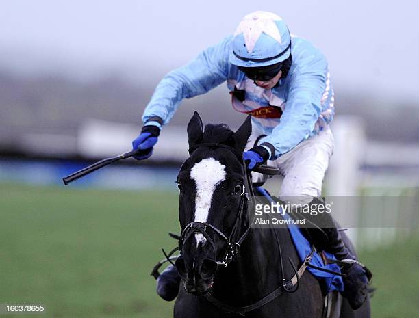 Conor OFarrell riding Centasia win The Wedding Receptions At Ludlow Standard Open National Hunt Falt Race from at Ludlow racecourse on January 30...