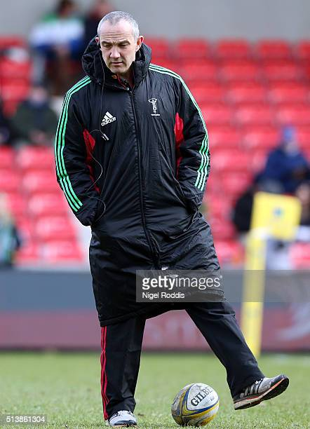 Conor O'Shea Director of Rugby of Harlequins during the Aviva Premiership match between Sale Sharks and Harlequins at the AJ Bell Stadium in Salford...