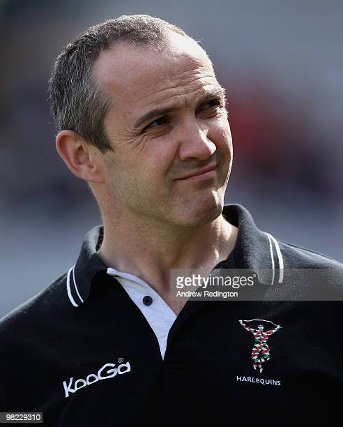 Conor O'Shea Harlequins coach during the Guinness Premiership match between Harlequins and Newcastle Falcons at The Stoop on April 3 2010 in London...