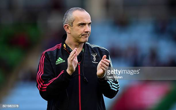 Conor O'Shea Harlequins' Director of Rugby looks on prior to the European Rugby Challenge Cup Pool 3 match between Harlequins and Rugby Calvisano at...