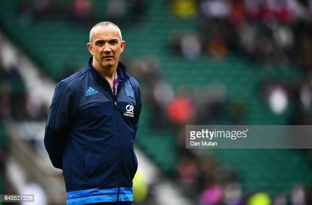 Conor O'Shea head coach of Italy looks on prior to the RBS Six Nations match between England and Italy at Twickenham Stadium on February 26 2017 in...