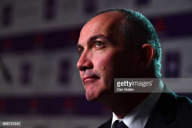 Conor O'Shea Head Coach of Italy speaks to the media during the 2018 Natwest 6 Nations Launch at the Syon Park Hilton Hotel on January 24 2018 in...