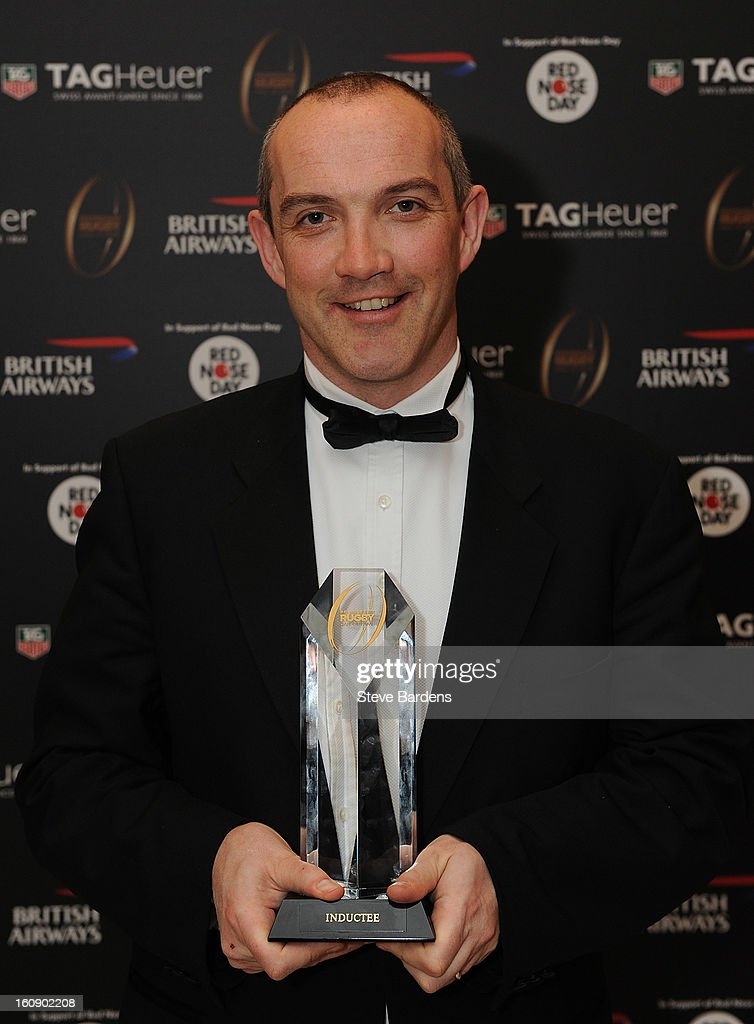 Conor O'Shea is inducted into the Hall of Fame during the inaugural Premiership Rugby Hall of Fame Ball at the Hurlingham Club on February 7, 2013 in London, England.