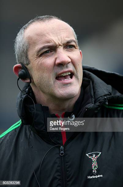 Conor O'Shea the Harlequins director of rugby looks on during the Aviva Premiership match between Worcester Warriors and Harlequins at Sixways...