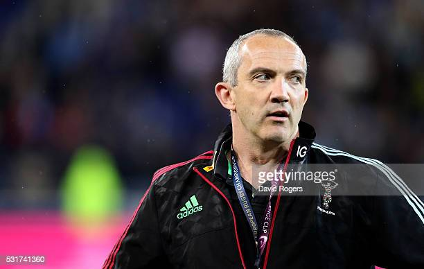 Conor O'Shea the Harlequins director of rugby looks on during the European Rugby Challenge Cup Final match between Harlequins and Montpellier at...