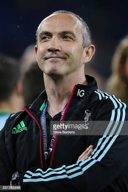 Conor O'Shea the Harlequins Director of rugby looks on following his team's 2619 defeat during the European Rugby Challenge Cup Final match between...