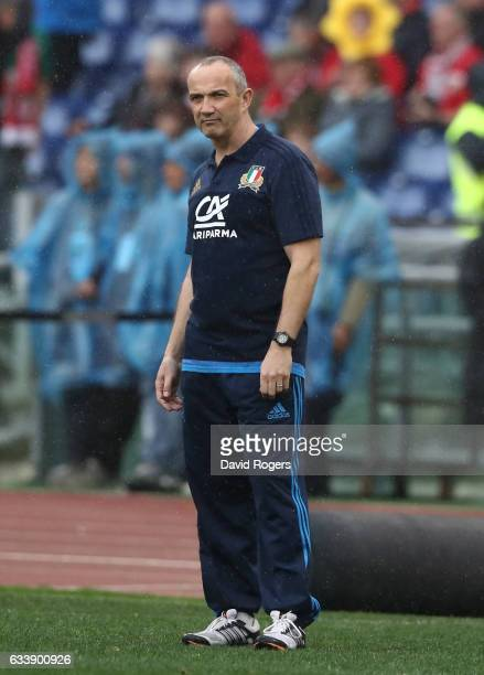 Conor O'Shea the head coach of Italy looks on during the RBS Six Nations match between Italy and Wales at the Stadio Olimpico on February 5 2017 in...