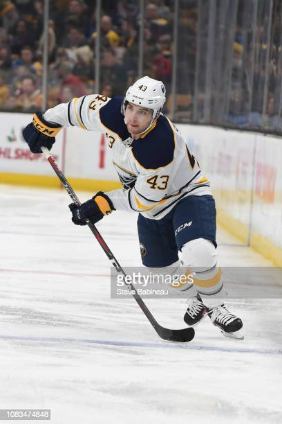 Conor Sheary of the Buffalo Sabres skates against the Boston Bruins at the TD Garden on December 16 2018 in Boston Massachusetts