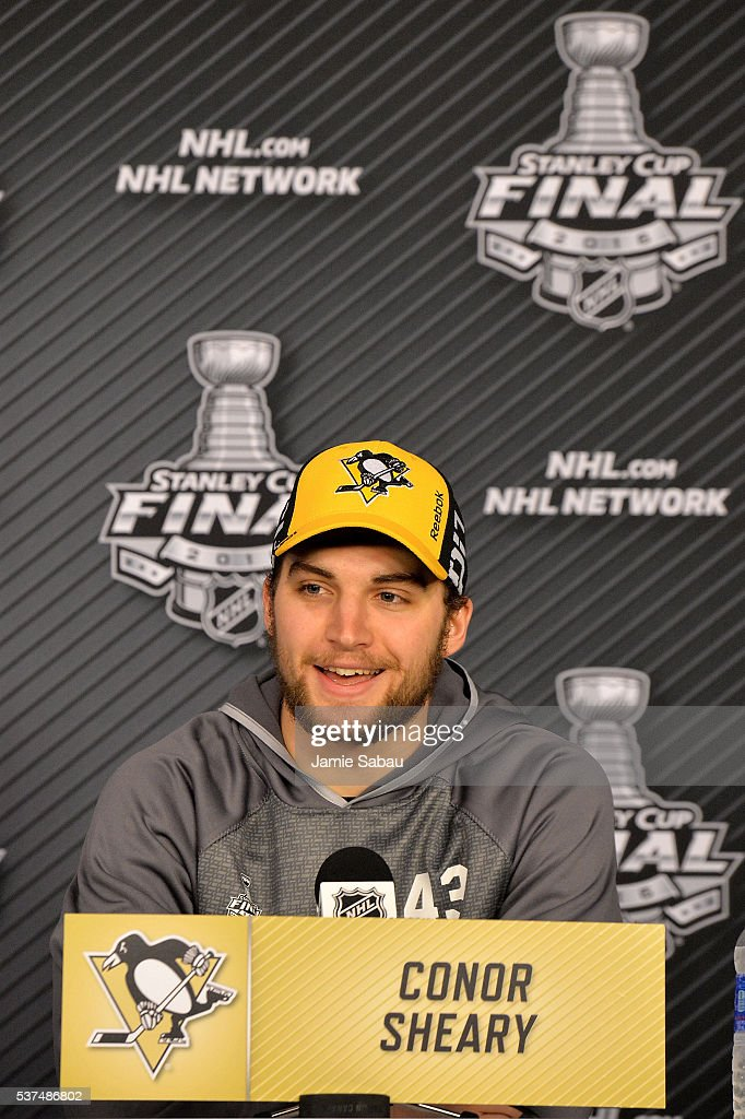 Conor Sheary #43 of the Pittsburgh Penguins speaks with the media during a post-game press conference after scoring the game-winning goal to defeat the San Jose Sharks 2-1 during overtime in Game Two of the 2016 NHL Stanley Cup Final at Consol Energy Center on June 1, 2016 in Pittsburgh, Pennsylvania.
