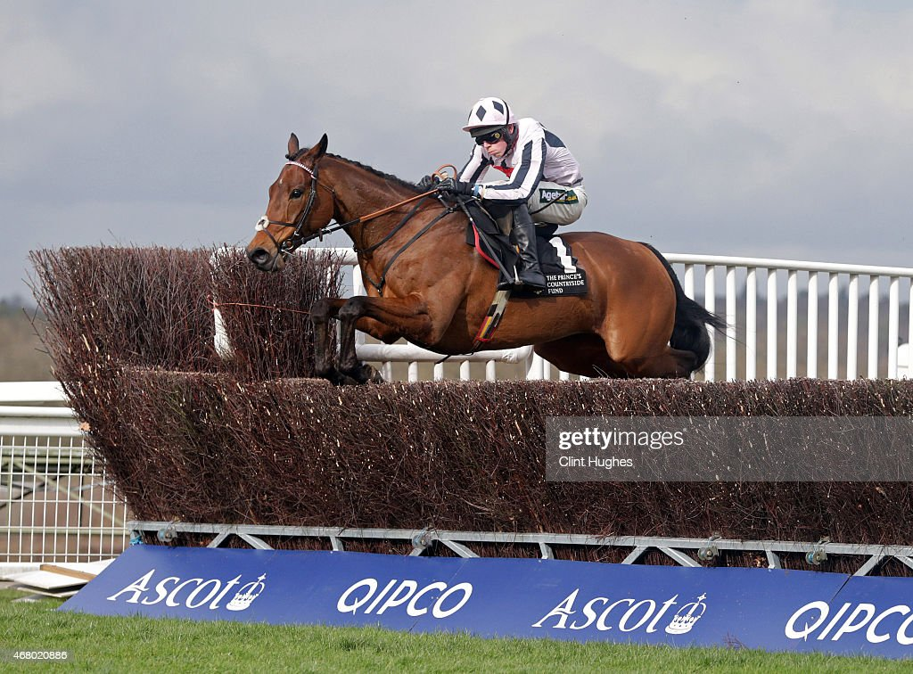 Conor Shoemark riding Creevytennant clears a fence during the Davidstow Veterans' Handicap Steeple Chase at Ascot Racecourse on March 29, 2015 in Ascot, England.