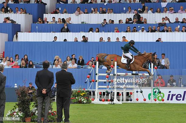 Conor Swail and Lansdowne of Ireland competes in the Longines International Showjumping Grand Prix of Ireland with a prize of EUR200000 at the RDS...