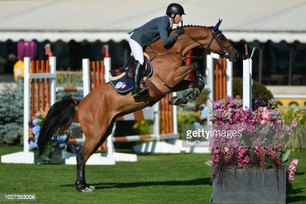 Conor Swail from Ireland riding GK Coco Chanel during the Telus Cup individual jumping equestrian on the opening day of the Spruce Meadows Masters...