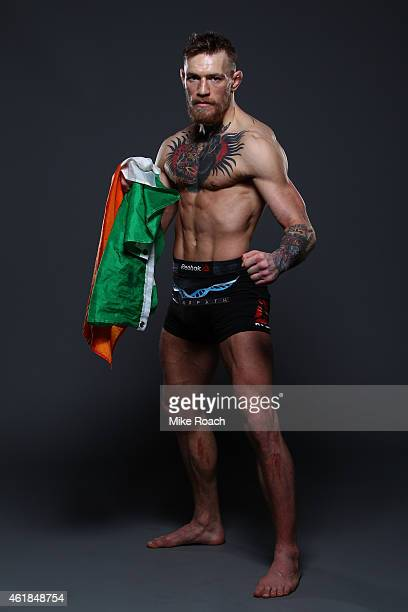 Conor 'The Notorious' McGregor of Ireland poses for a post fight portrait backstage during the UFC Fight Night event at the TD Garden on January 18...