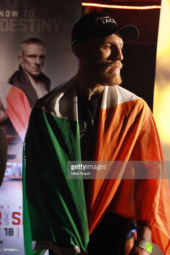 Conor 'The Notorious' McGregor of Ireland stands backstage during the UFC Fight Night Boston weigh-in event at the Orpheum Theatre on January 17, 2015 in Boston, Massachusetts.