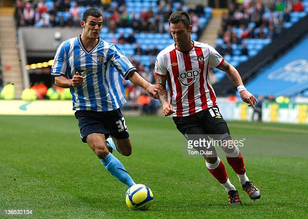 Conor Thomas of Coventry City and Daniel Fox of Southampton battle for the ball during the FA Cup 3rd round match between Coventry City and...