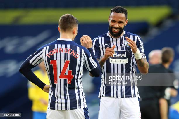 Conor Townsend and Kyle Bartley of West Bromwich Albion celebrate following their team's victory in the Premier League match between West Bromwich...
