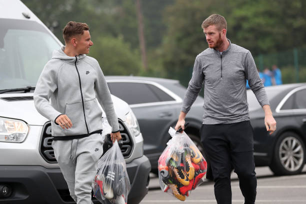 GBR: West Bromwich Albion Players arrive for Pre-Season Training