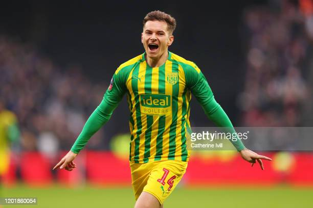 Conor Townsend of West Bromwich Albion celebrates after scoring his team's first goal during the FA Cup Fourth Round match between West Ham United...