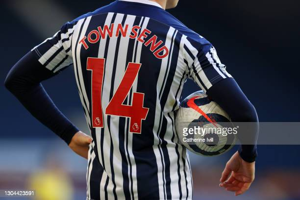 Conor Townsend of West Bromwich Albion holds the the blue and hite Nike Flight Premier League match ball during the Premier League match between West...