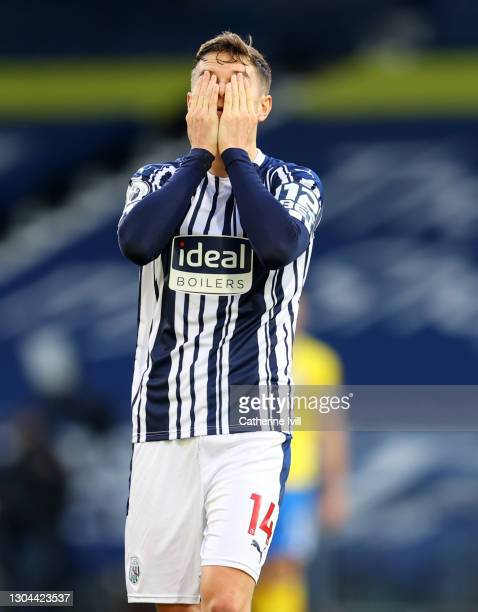 Conor Townsend of West Bromwich Albion reacts after the Premier League match between West Bromwich Albion and Brighton & Hove Albion at The Hawthorns...